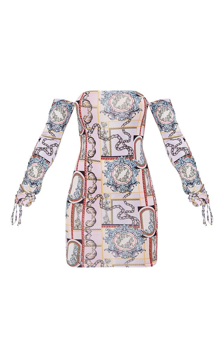 Lilac Slinky Scarf Print Bardot Bodycon Dress 3