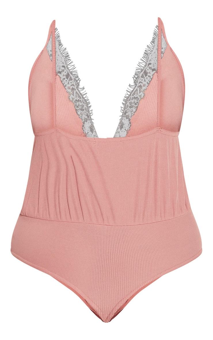 Plus Rose Rib Lace Trim Drape Thong Bodysuit 4
