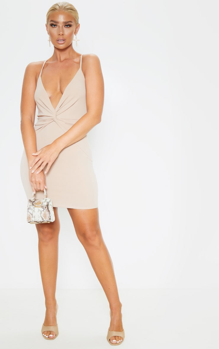 Nude Strappy Knot Front Bodycon Dress 4