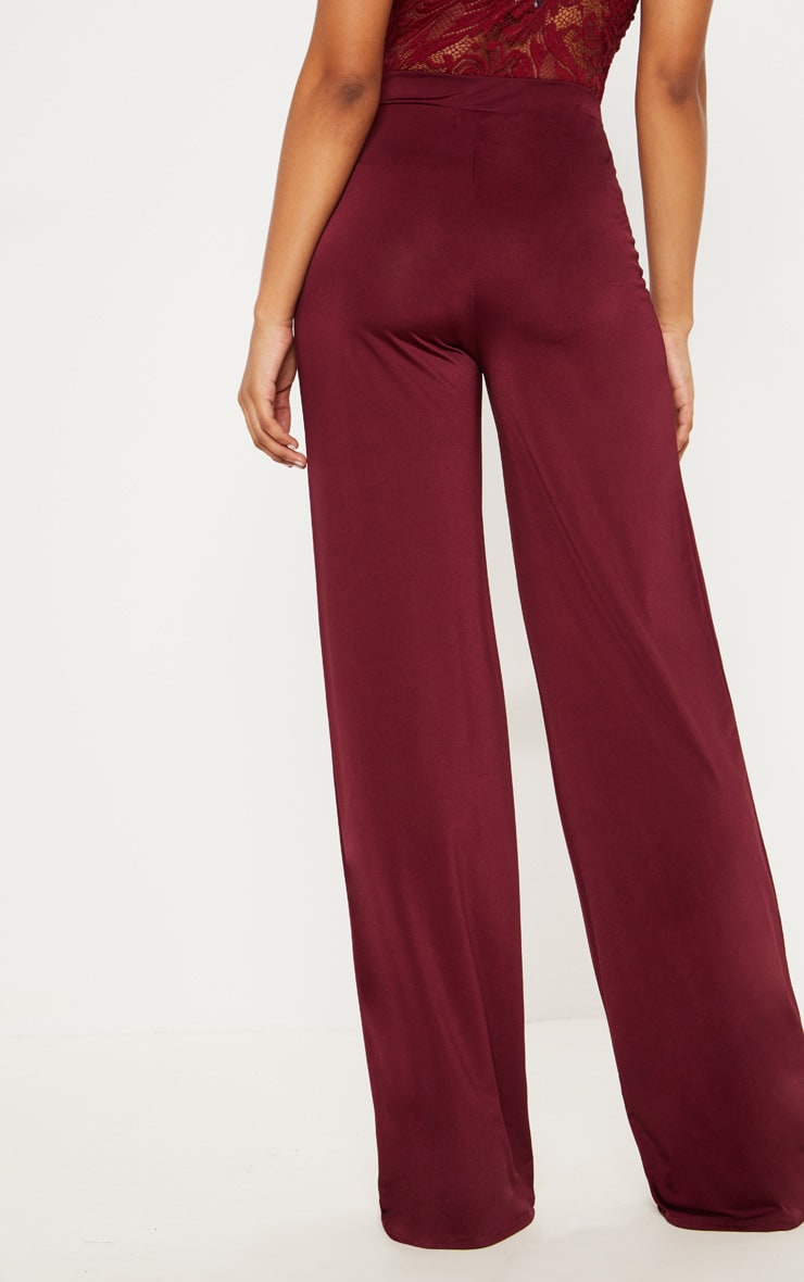 Tall Burgundy Slinky Wide Leg Pants 4