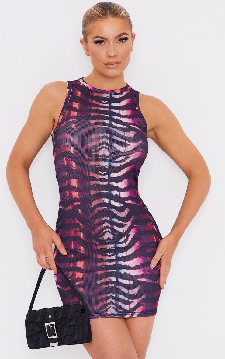 Multi Print Rib Racer Neck Sleeveless Bodycon Dress 1