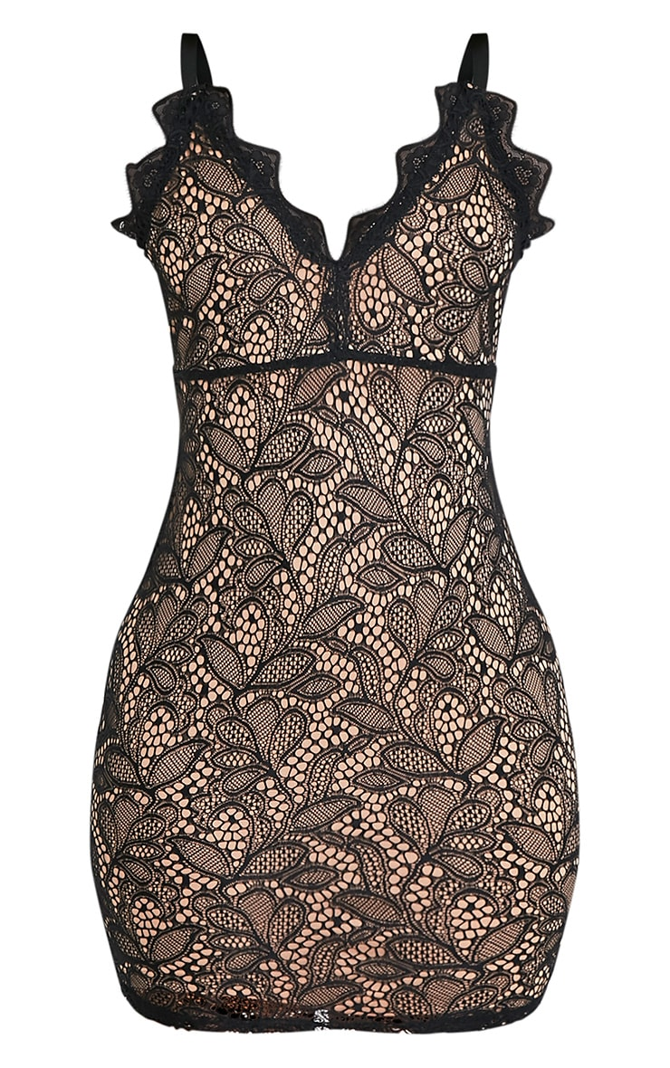 Isabel Black Scallop Lace Detail Bodycon Dress 3