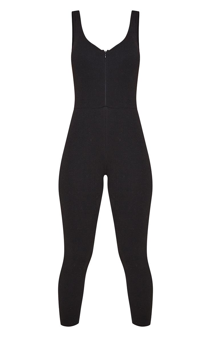 Black Ribbed Zip Front Jumpsuit 5