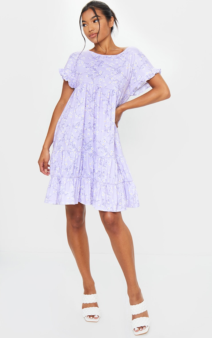 Lilac Ditsy Print Frill Sleeve Smock Dress 1