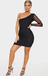 3028550a0a6 Black One Shoulder Mesh Sleeve Binding Bodycon Dress