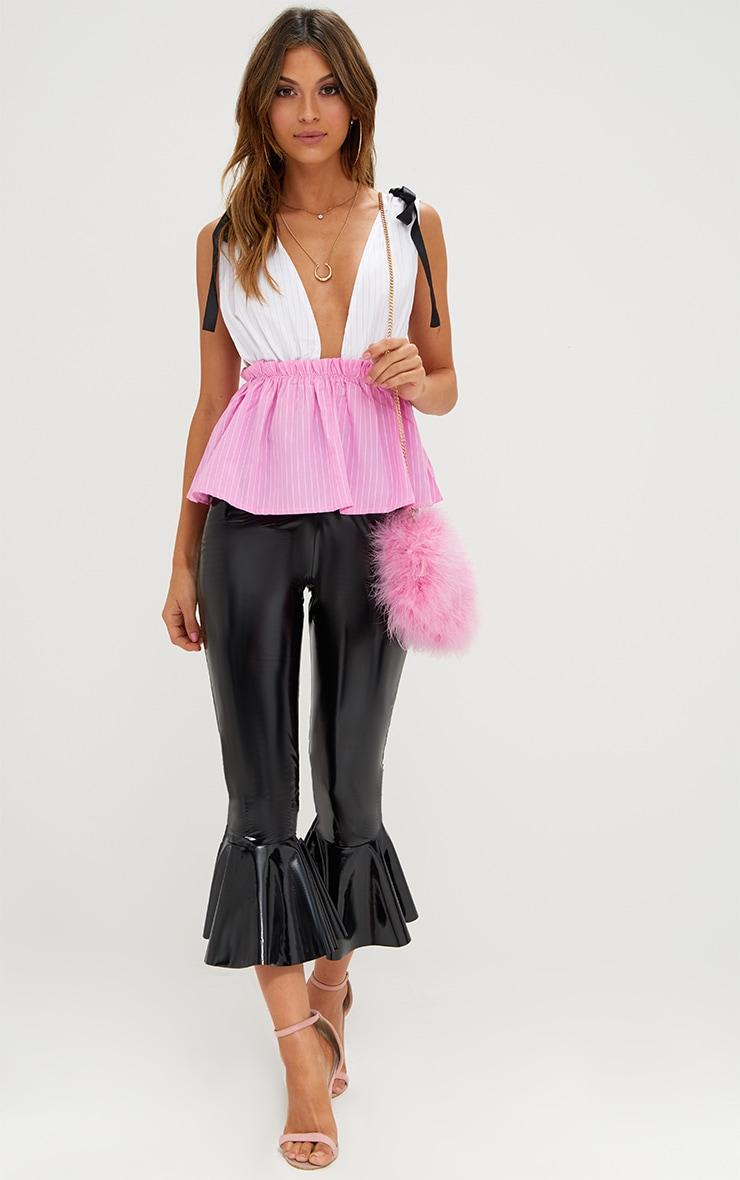 Pink Stripe Plunge Contrast Stripe Sleeveless Shirt 4