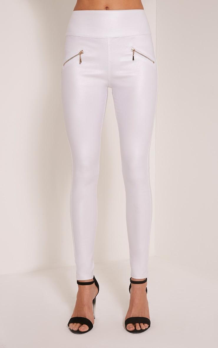 Jamima White Zip Back Super Skinny Coated Trousers 2