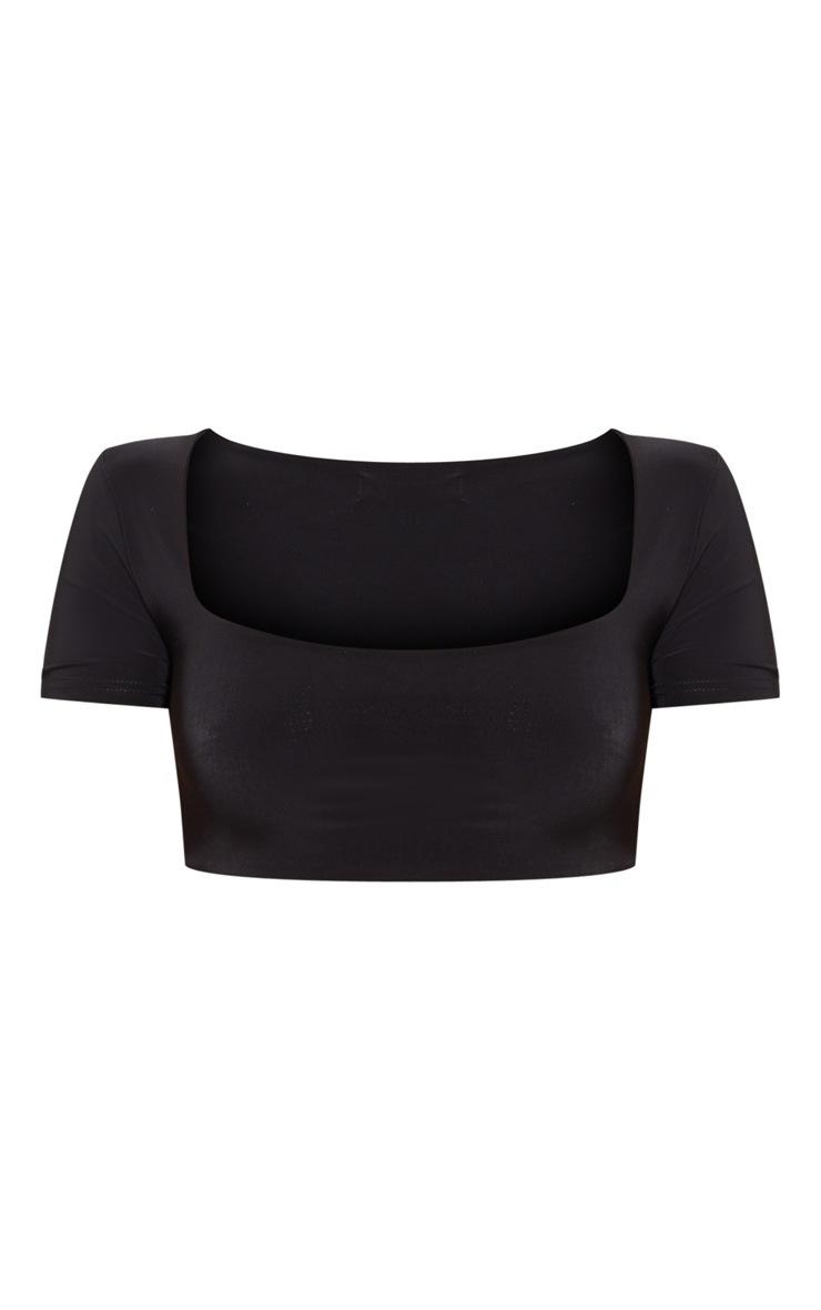 Black Slinky Short Sleeve Crop Top 3