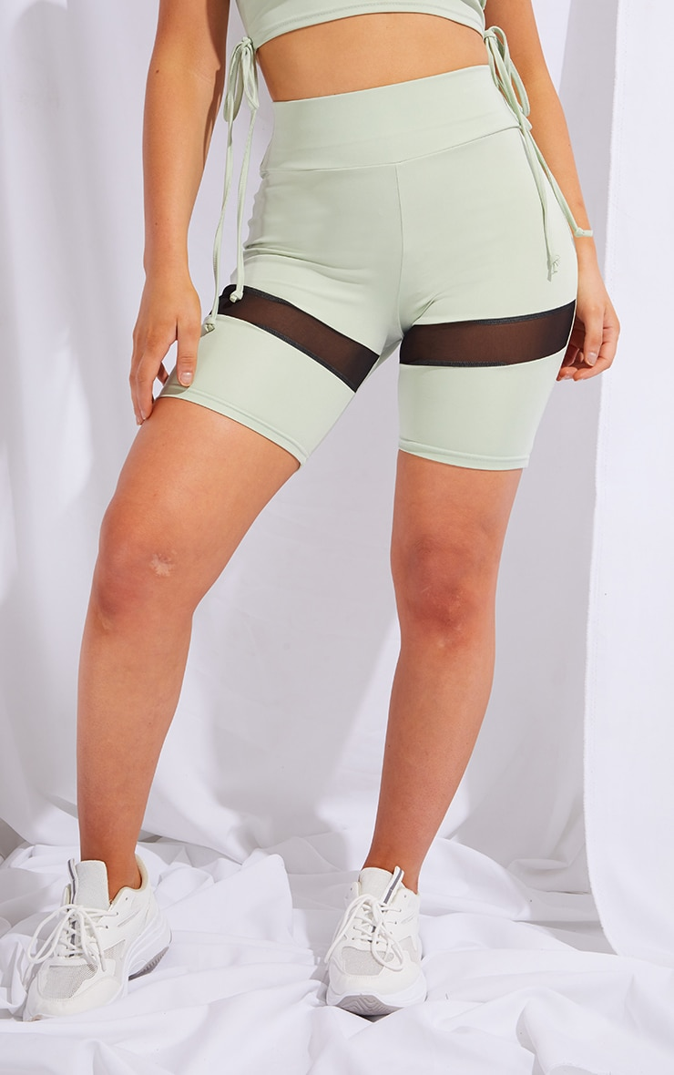 PRETTYLITTLETHING Sage Green Sport Mesh Insert Cycle Shorts 2