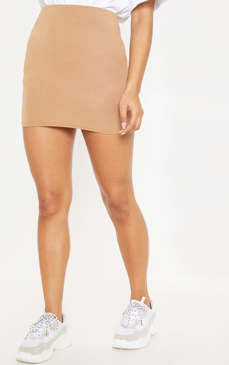 Basic Camel Jersey Mini Skirt 2