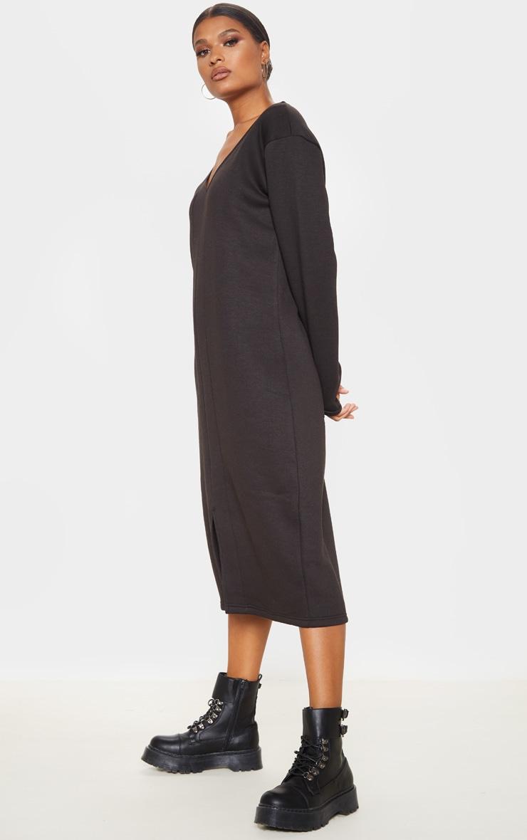 Black Oversized V Neck Split Front Sweat Midi Dress 4