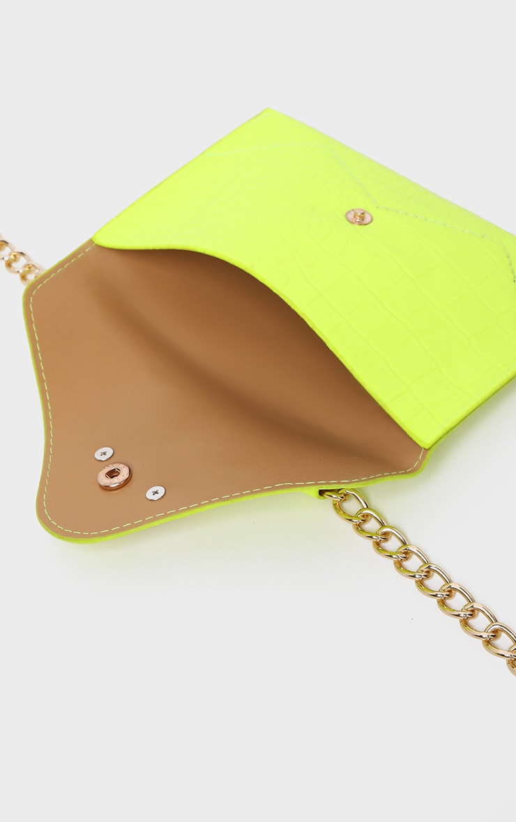 Neon Yellow Dragon Chain Belted Bum Bag 3