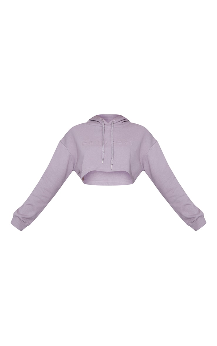 PRETTYLITTLETHING Mauve Dropped Hem Cropped Hoodie 5