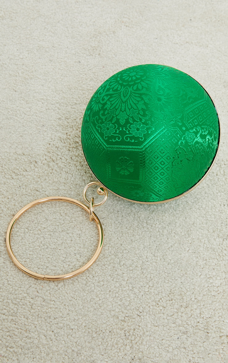 Green Satin Embroidered Small Round Grab Bag 2
