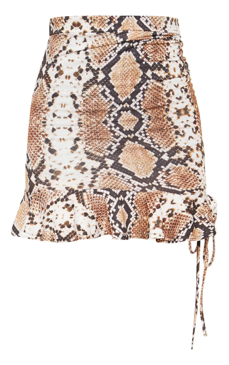 Snake Print Ruched Detail Mini Skirt 4