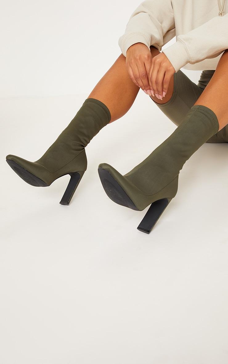Khaki Lycra Heeled Sock Boots 2