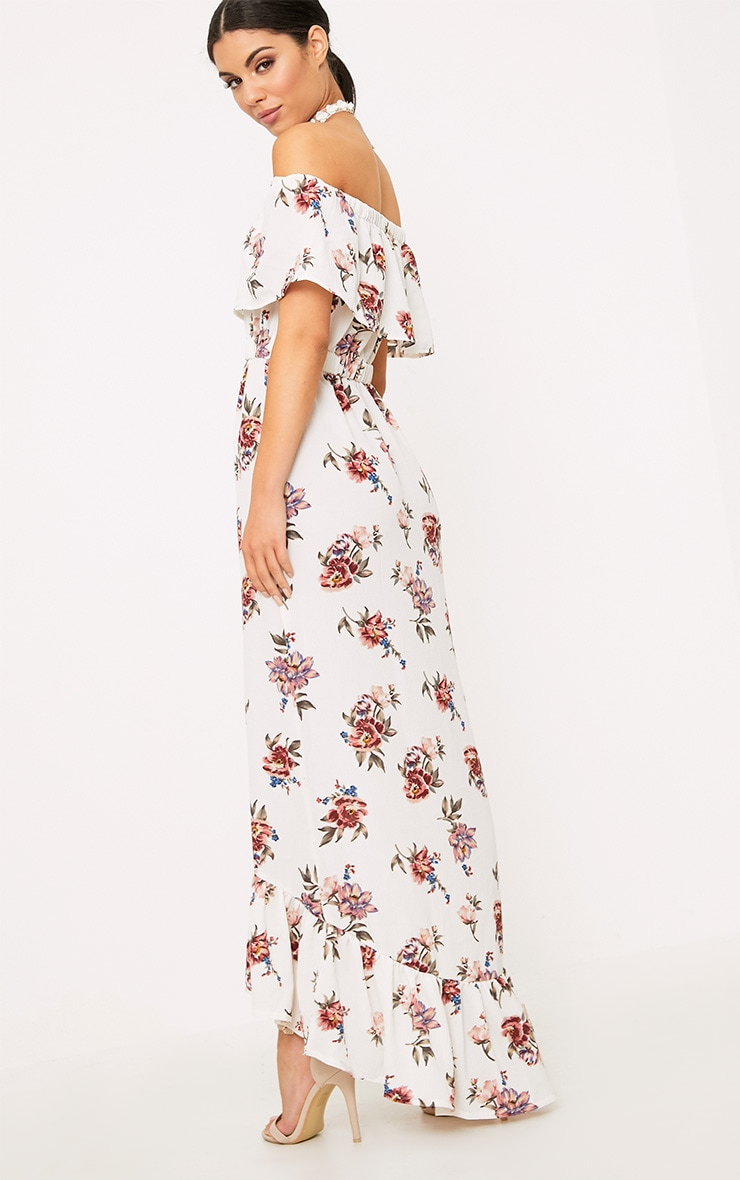 Julianna White Bardot Floral Maxi Dress 2