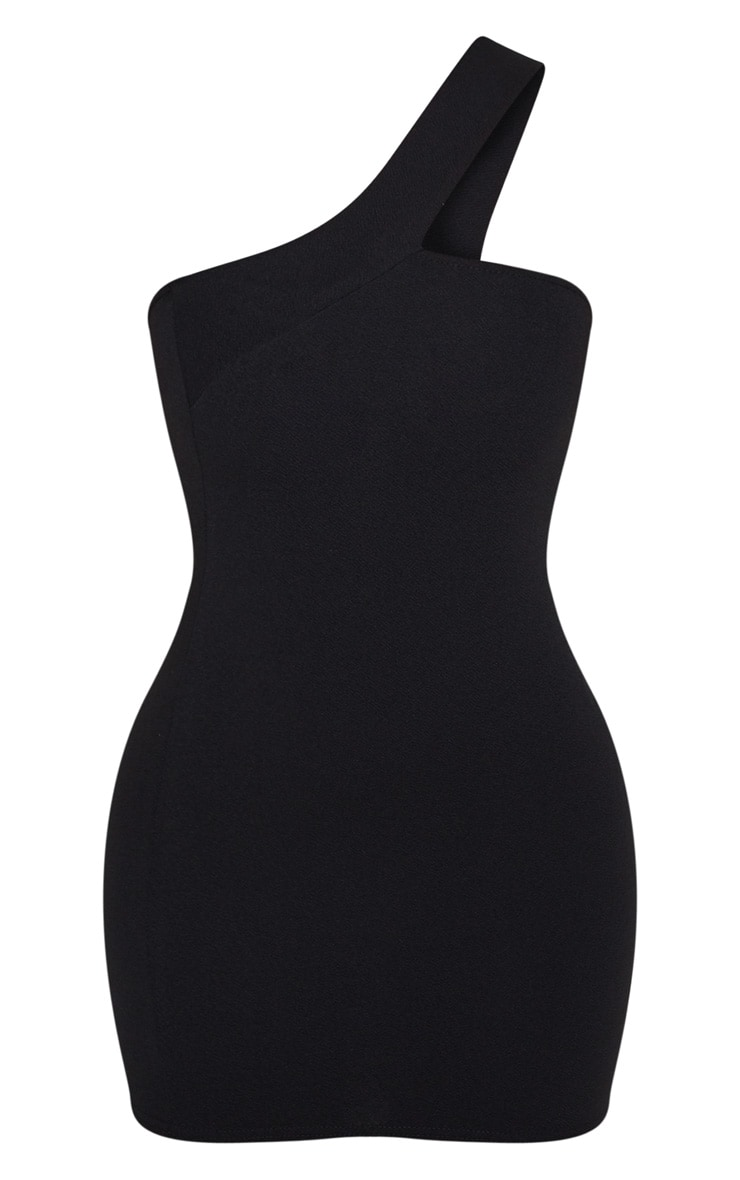 Black One Shoulder Strap Bodycon Dress 3