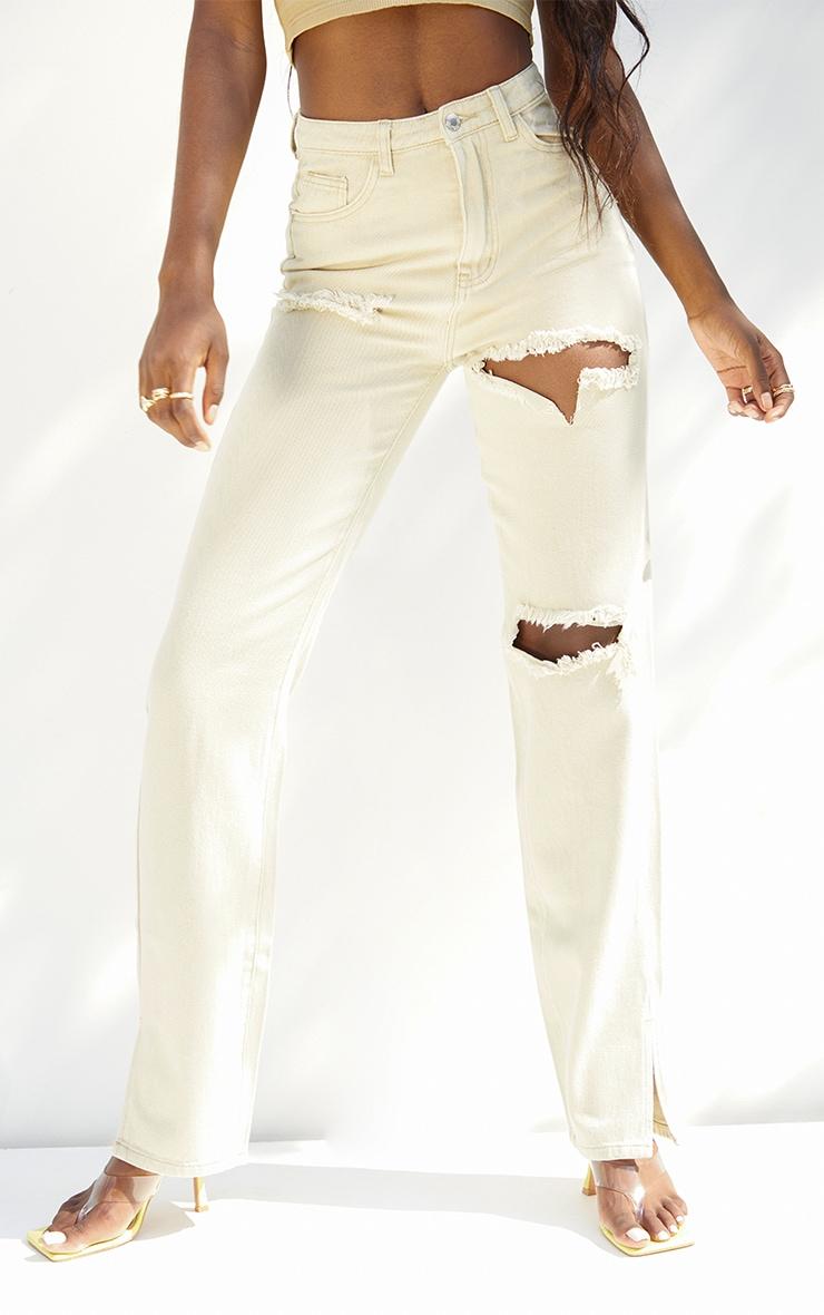 Tall  Stone Tall  Wash Ripped Split Hem Jeans 2