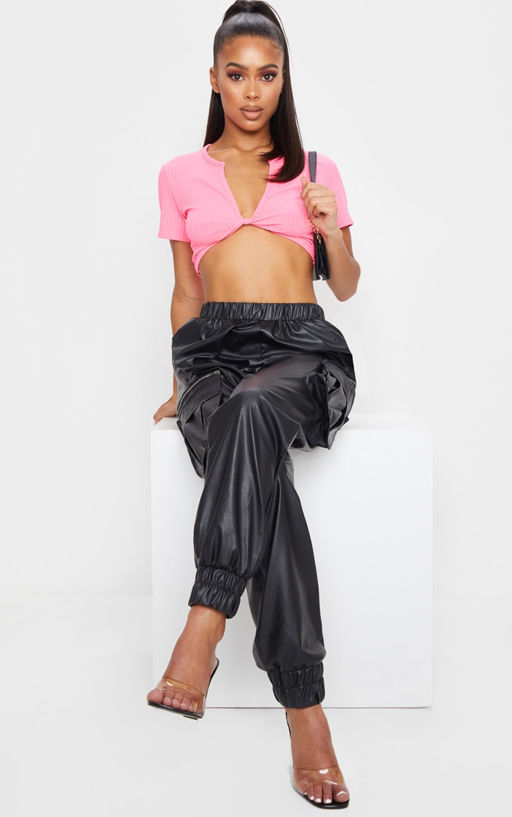 Fuschia Rib Knot Twist V Neck Crop Top 3