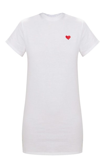 White Heart Embroidered T Shirt Dress