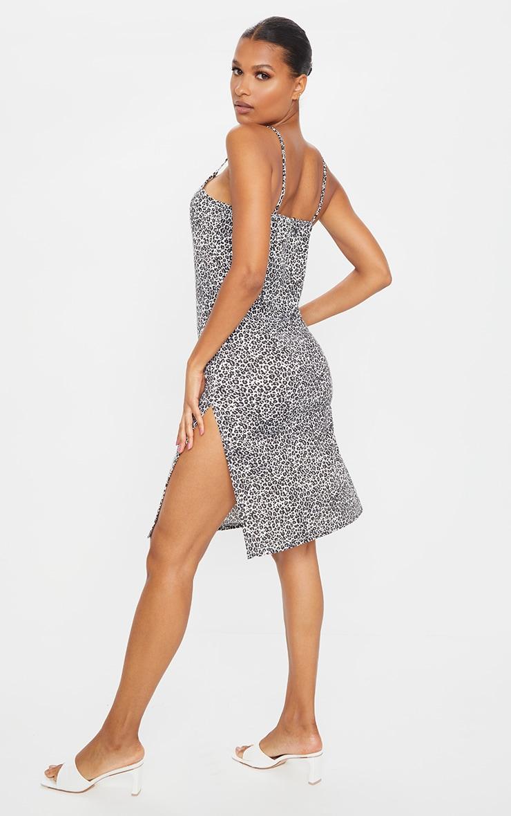 Black Leopard Jersey Split Cami Midi Dress 2