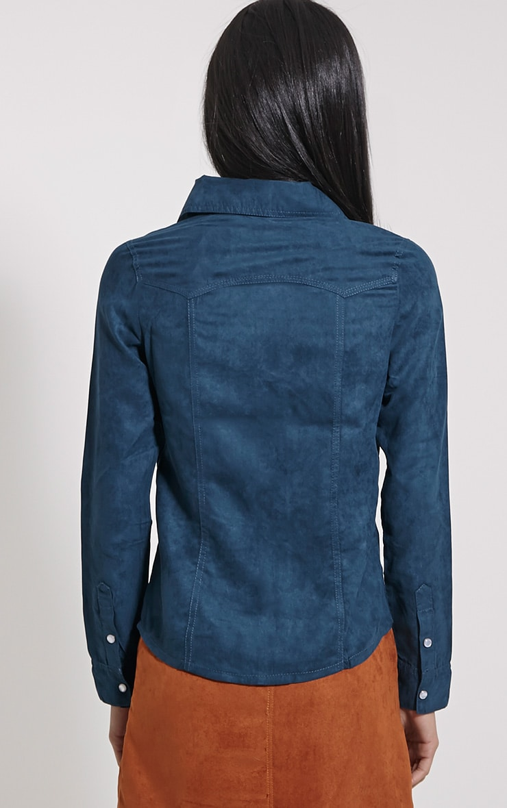 Asha Teal Faux Suede Fitted Shirt 2