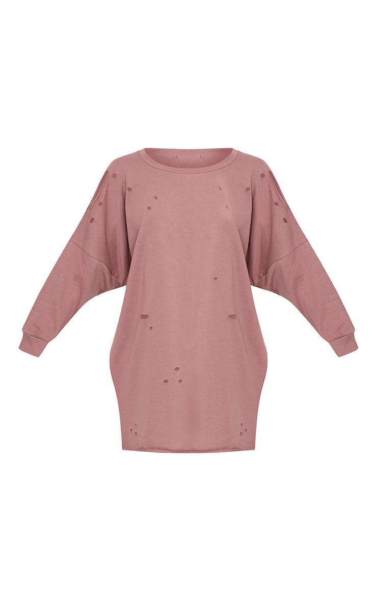 Emilia Dark Mauve Distressed Raw Edge Sweater Dress 3