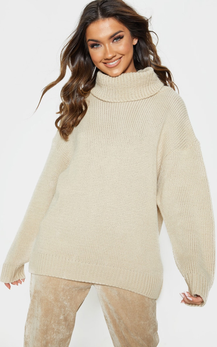 Stone High Neck Fluffy Knit Jumper  1