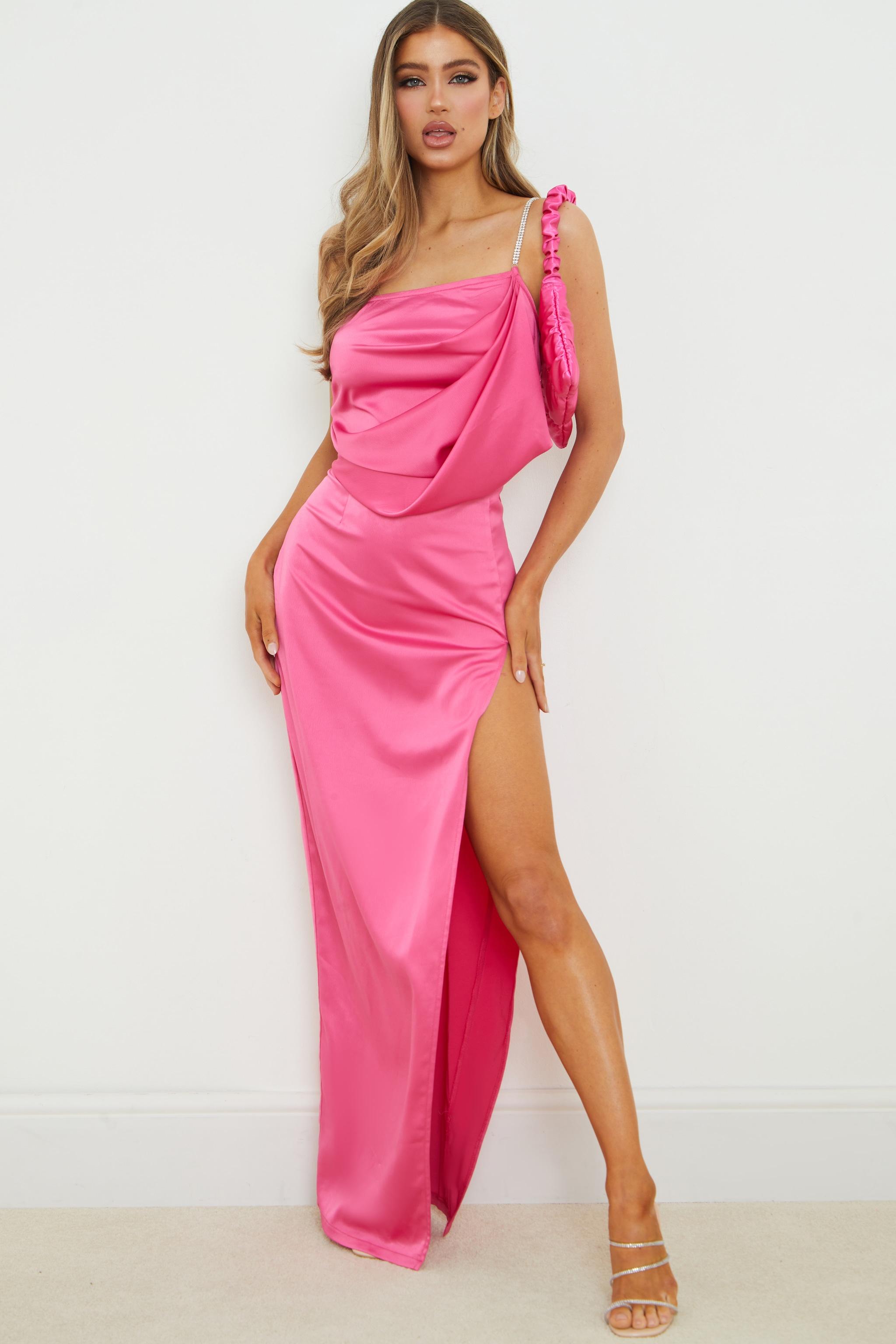 Hot Pink Satin Diamante One Shoulder Drape Maxi Dress 2