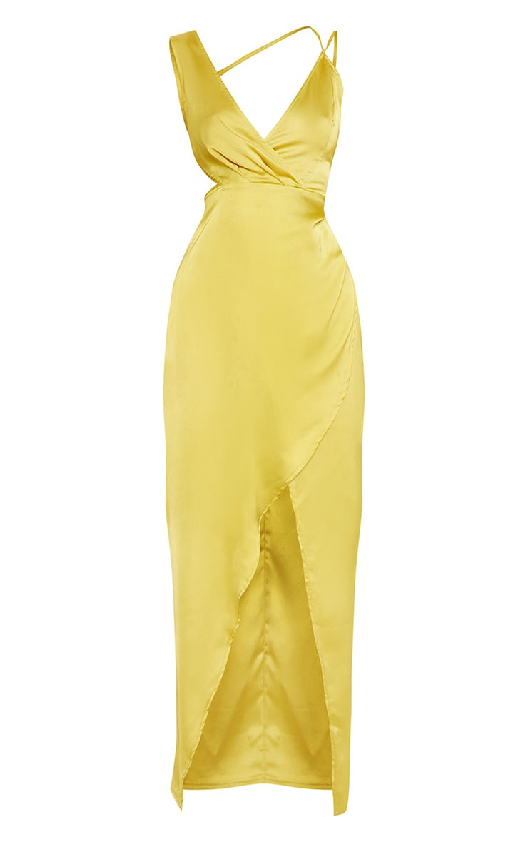 Chartreuse Asymmetric Sleeve Cut Out Split Leg Maxi Dress  4