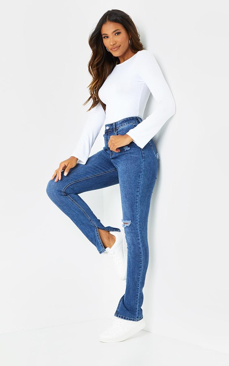 Dark Blue Wash Long Leg Split Hem Skinny Jeans 1