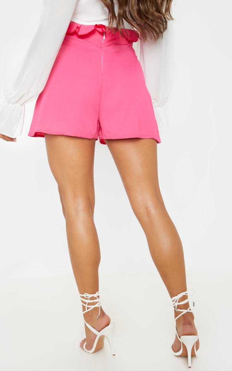 Hot Pink Woven Tie Waist Short  4