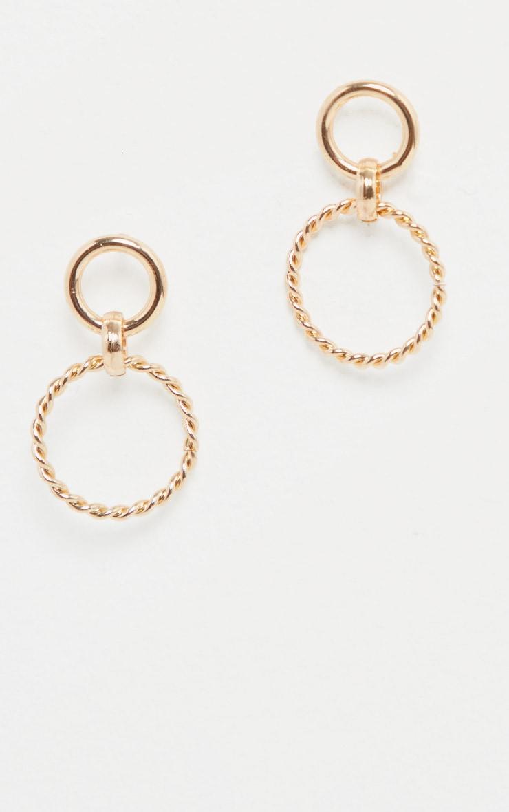 Gold Mini Twist Ring Double Drop Earrings 2