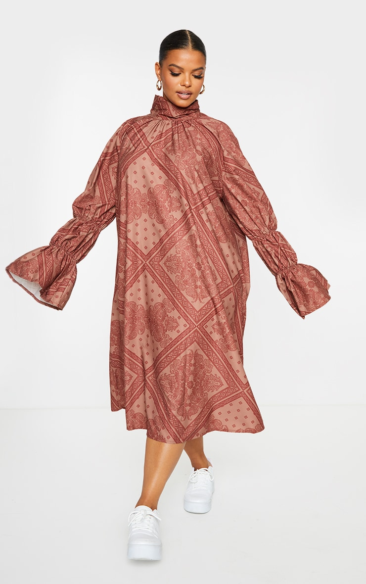 Plus Rust Printed High Neck Puff Sleeve Dress 4