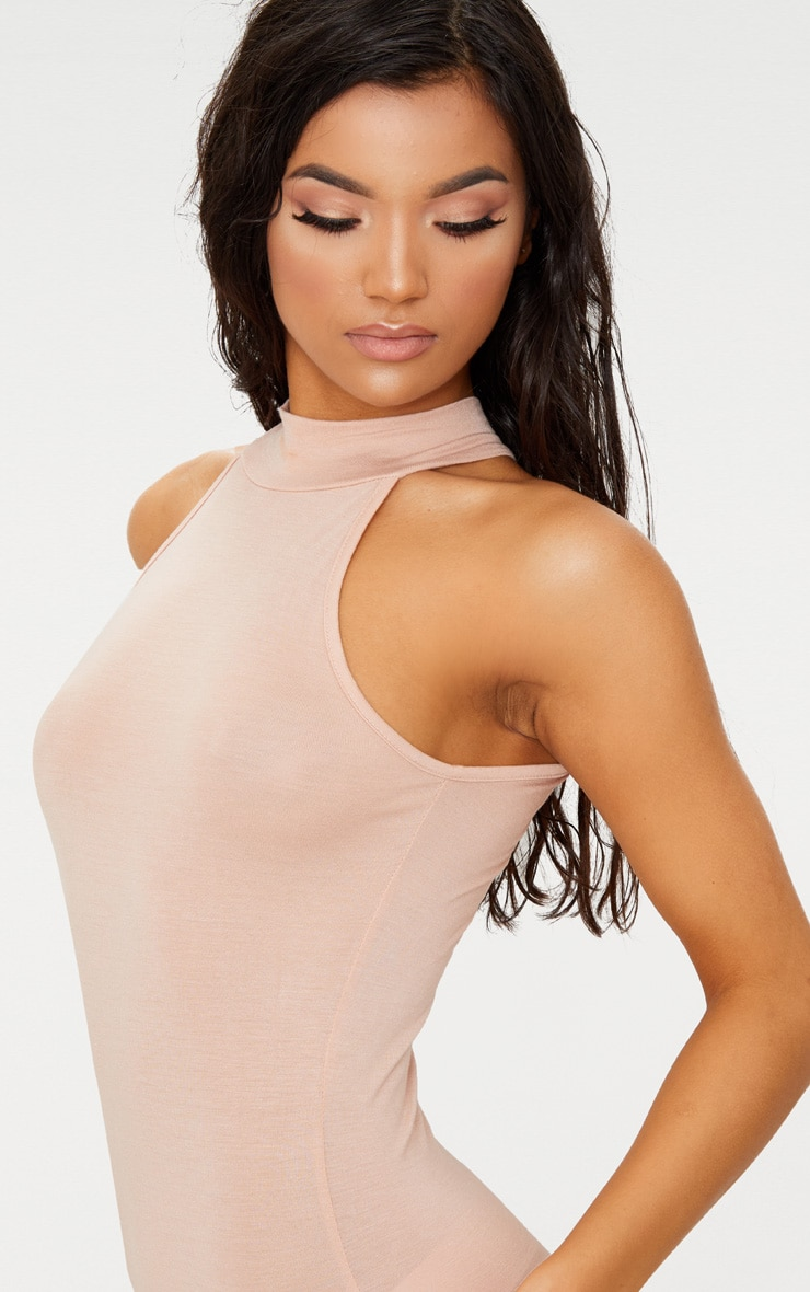 Nude High Neck Midi Dress 5