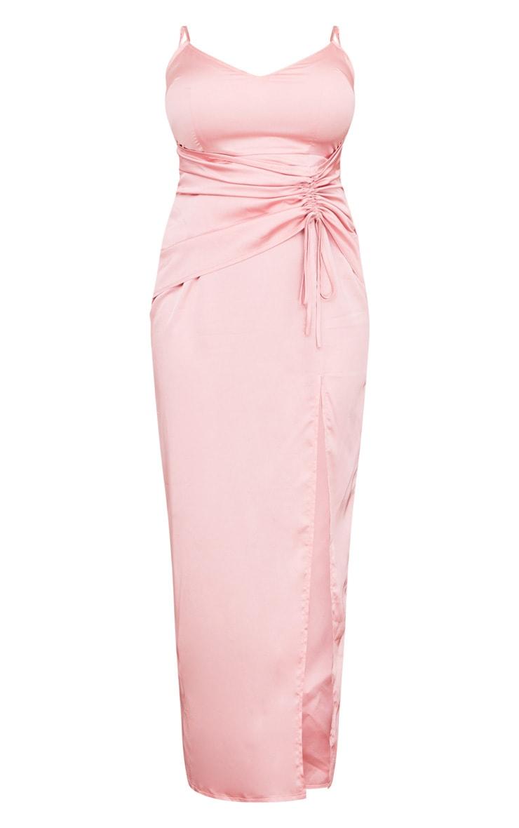 Plus Dusty Pink Satin Corset Waist Maxi Dress 5