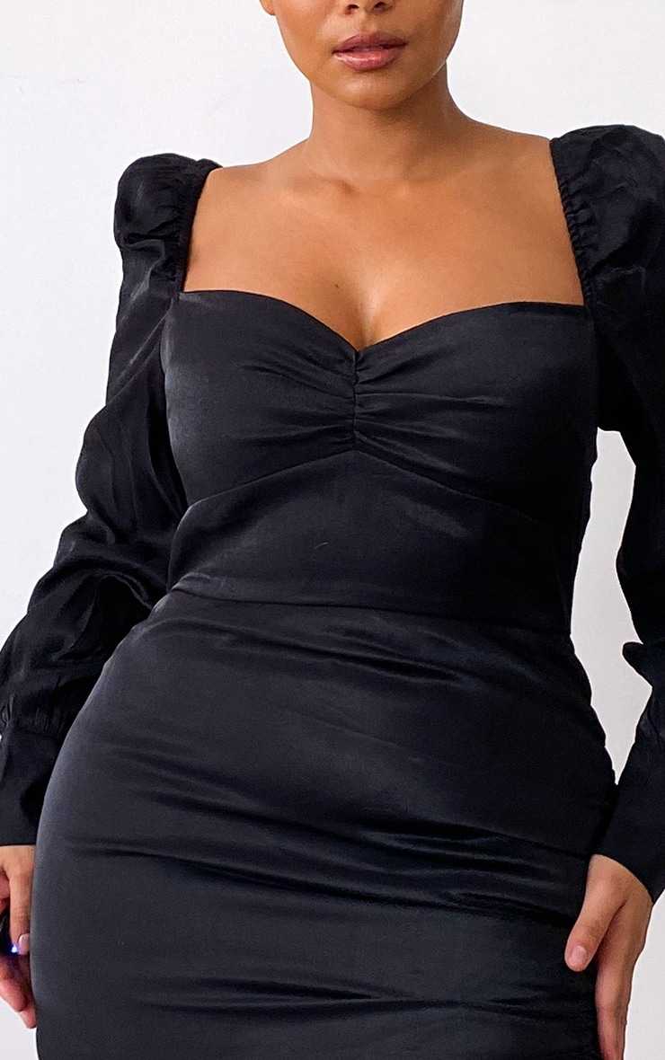 Plus Black Shimmer Ruched Detail Puff Sleeve Bodycon Dress 4