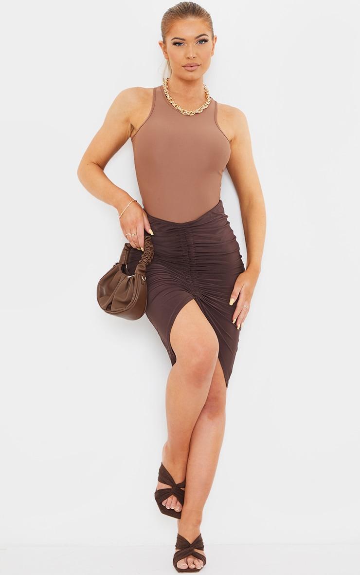 Chocolate Slinky V Front Ruched Midi Skirt 1