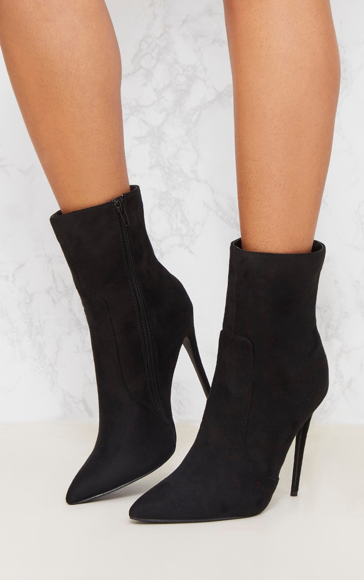Black Faux Suede High Ankle Boot 3