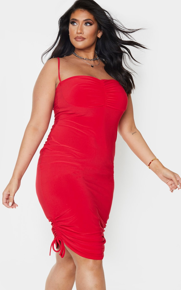 Plus Red Ruching Detail Strappy Midi Dress 1
