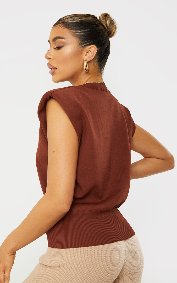 Chocolate Shoulder Pad Knitted Ribbed Top 2