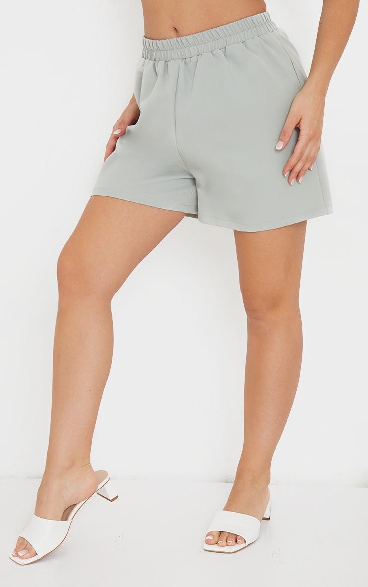 Sage Blue Elasticated Waist Floaty Shorts 2