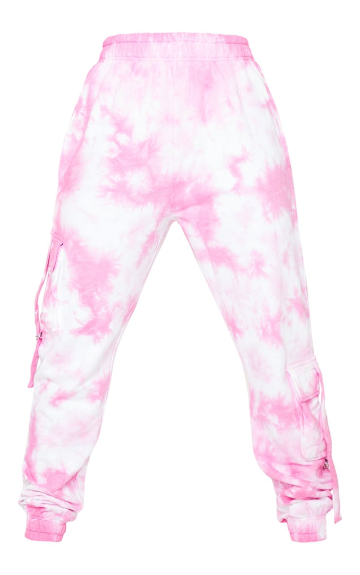 Tall Bright Pink Cargo Tie Dye Joggers 5