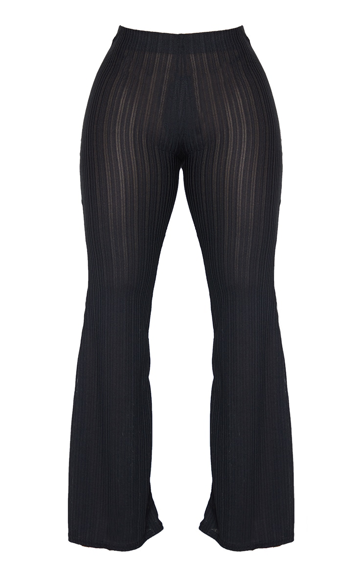 Shape Black Sheer Textured Flared Trousers 5
