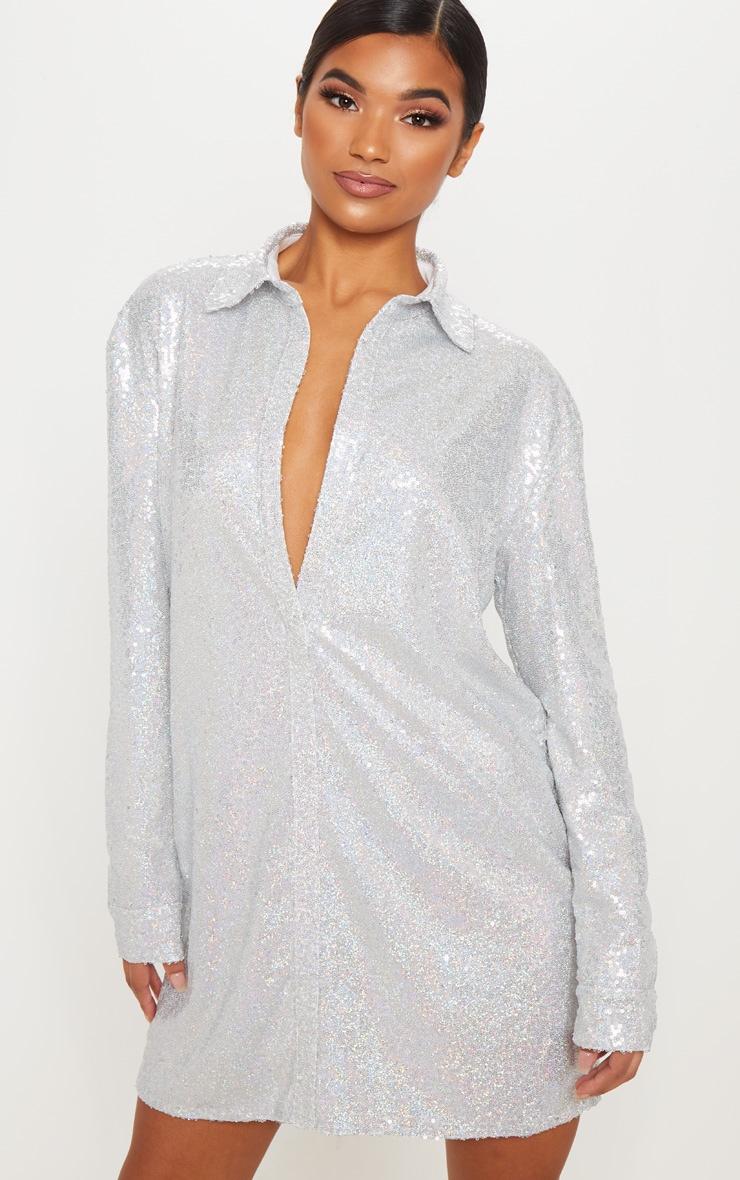 Silver Sequin Shirt Dress 4