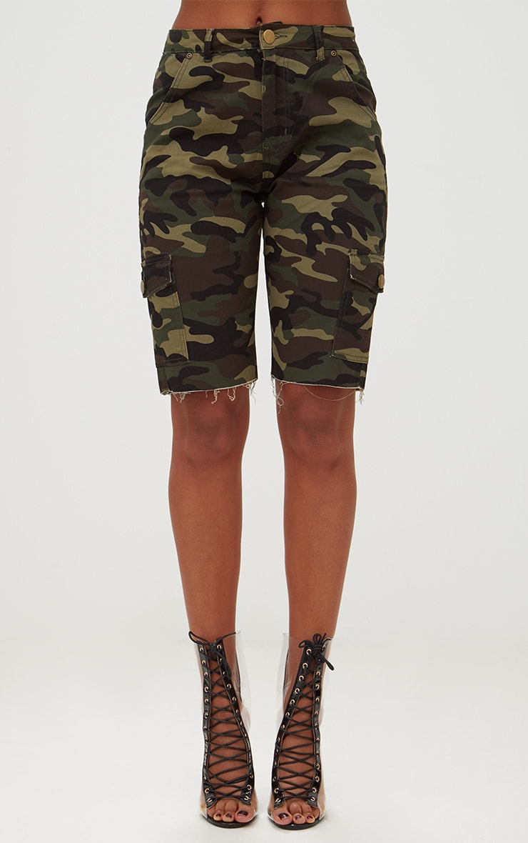 Camouflage Mid Length Denim Shorts 2