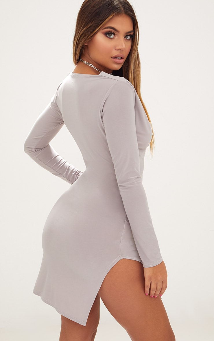 Ice Grey Cowl Neck Long Sleeve Bodycon Dress 2