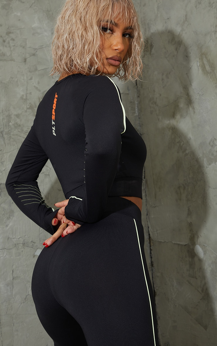 Black Piping Detail Long Sleeve Cropped Sports Top 1