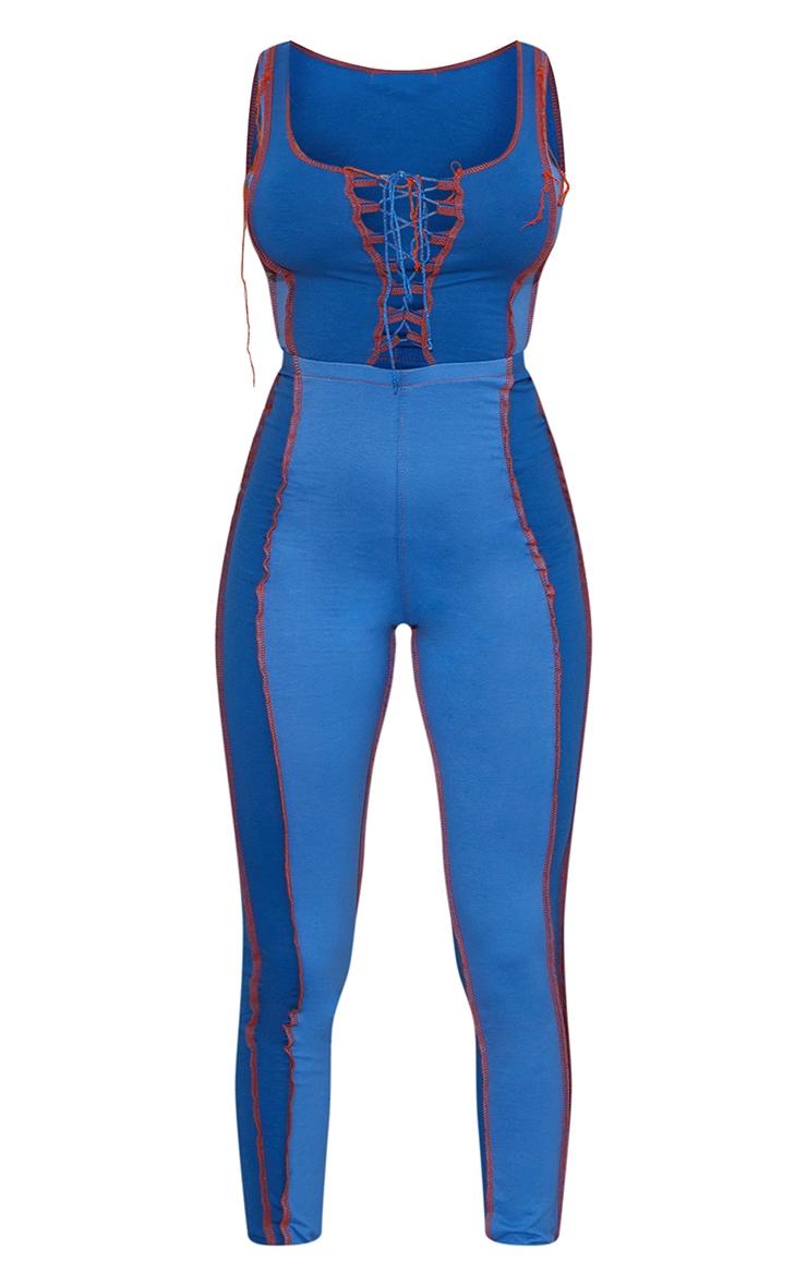 Blue Contrast Panel Seam Detail Lace Up Jumpsuit 5